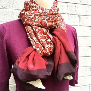 Accessories - Burgundy Floral Scarf